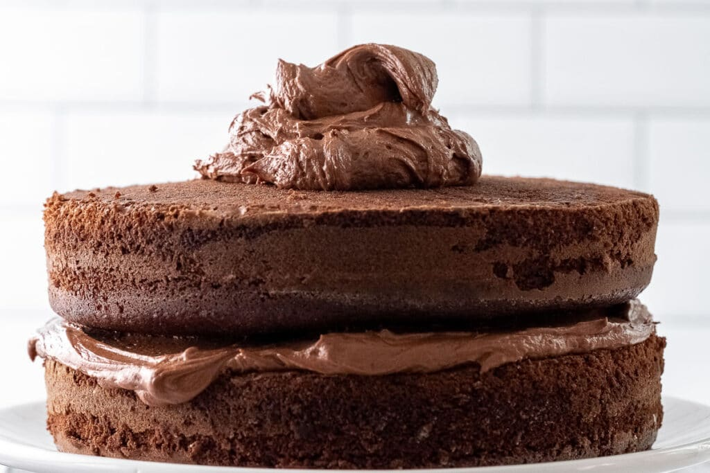 two chocolate layers of cake with frosting in the middle and a big dollop on top