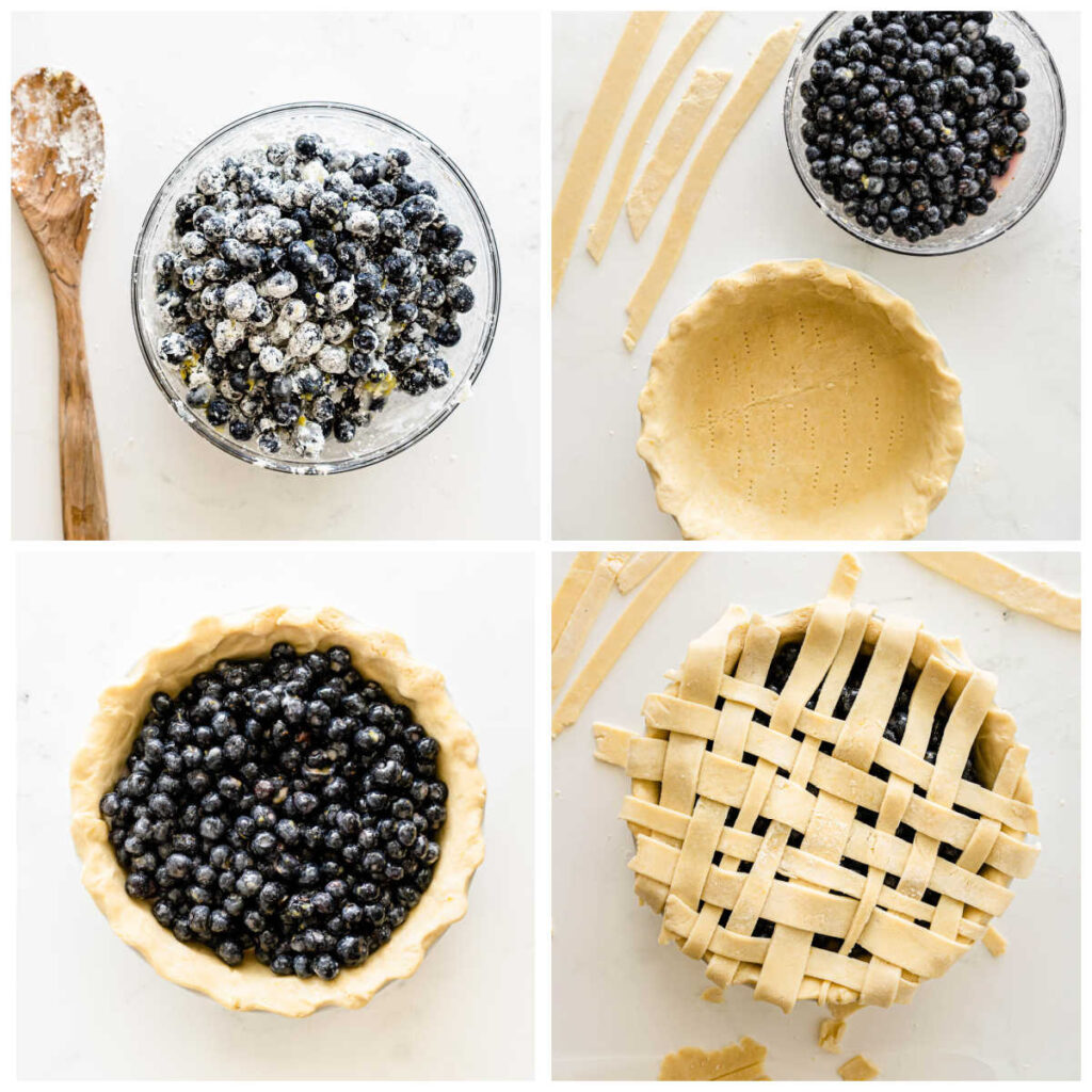 blueberries in a bowl and in a pie shell