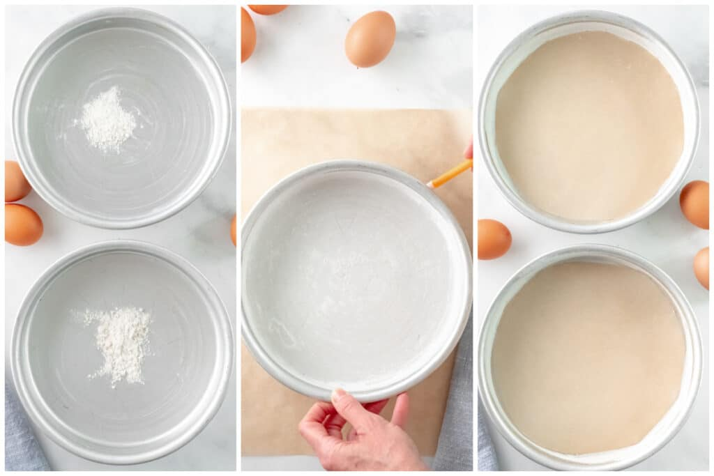 round silver cake pans with flour and parchment paper in then