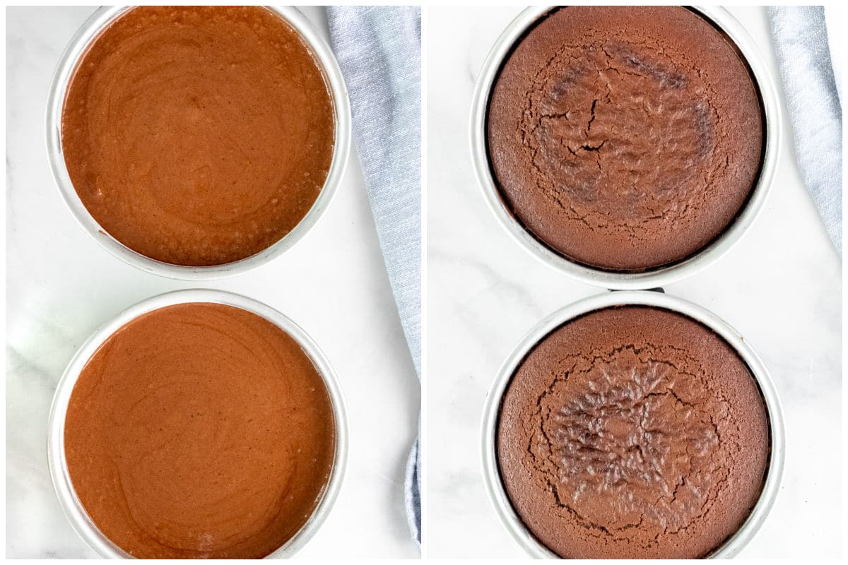 chocolate cake batter in two round baking pans uncooked and cooked