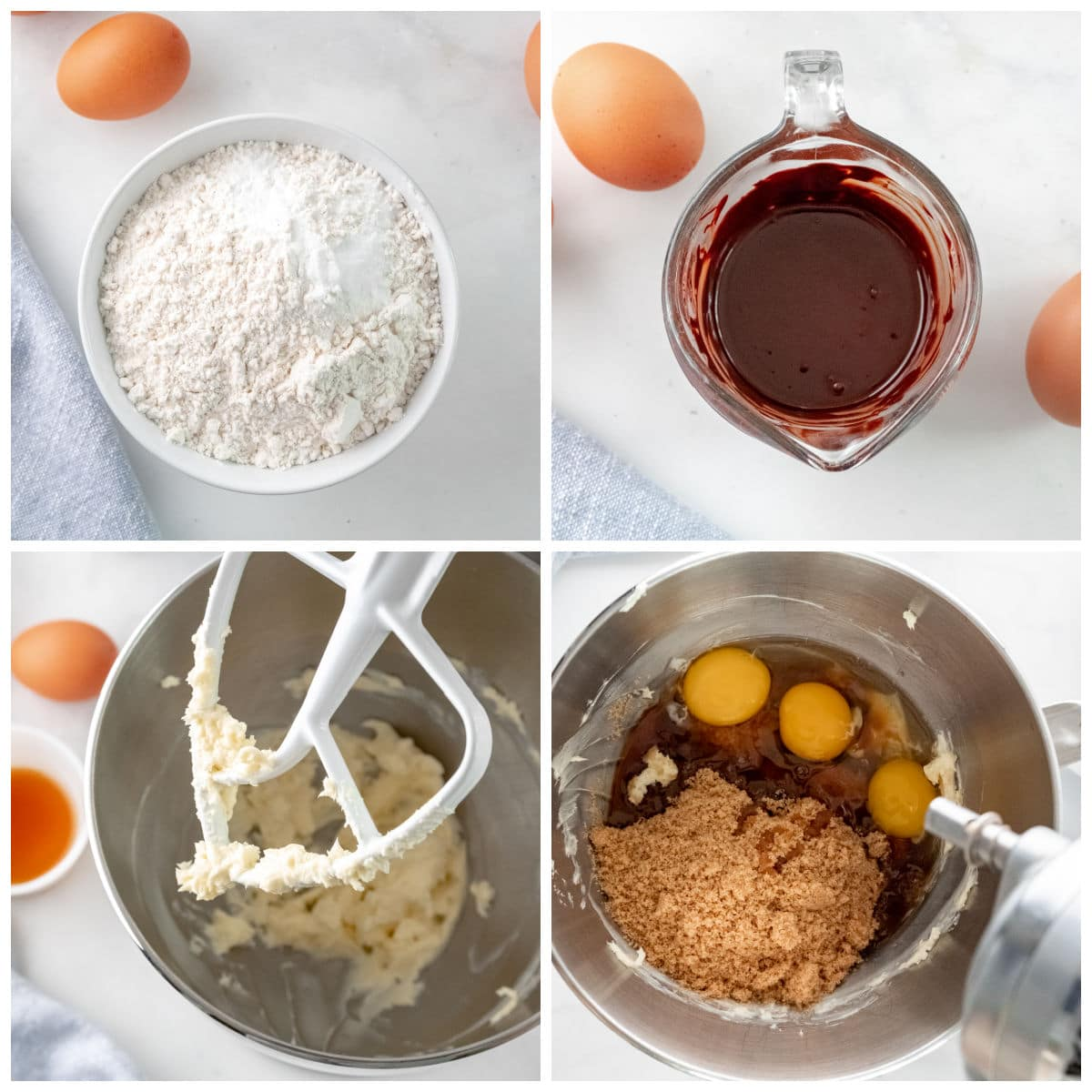 several bowls with flour, melted chocolate, butter being blended and eggs being added to mixer bowl