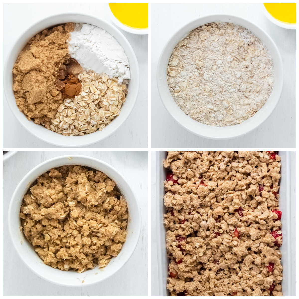 oats, flour, brown sugar and butter being mixed together in a white bowl and crumbs put over strawberries