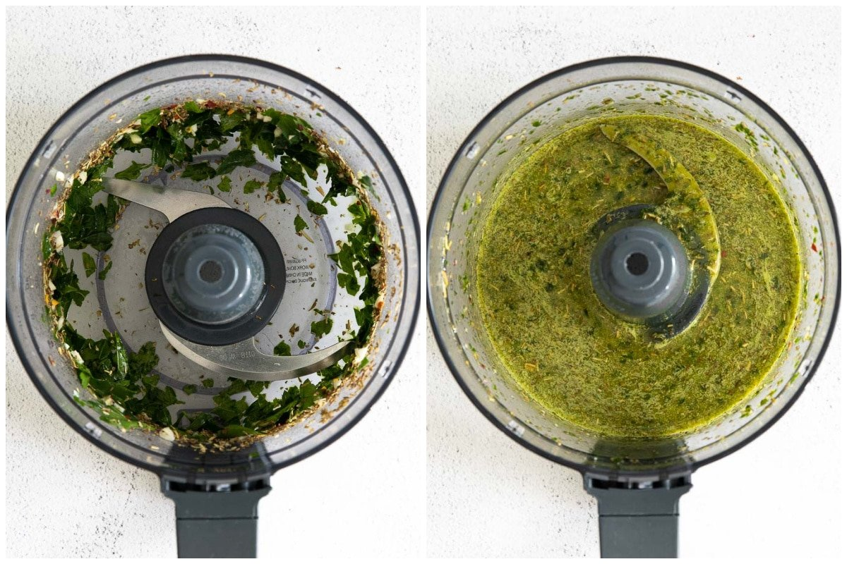 food processor with blended chimichurri sauce