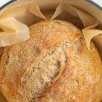 sourdough loaf in a dutch oven