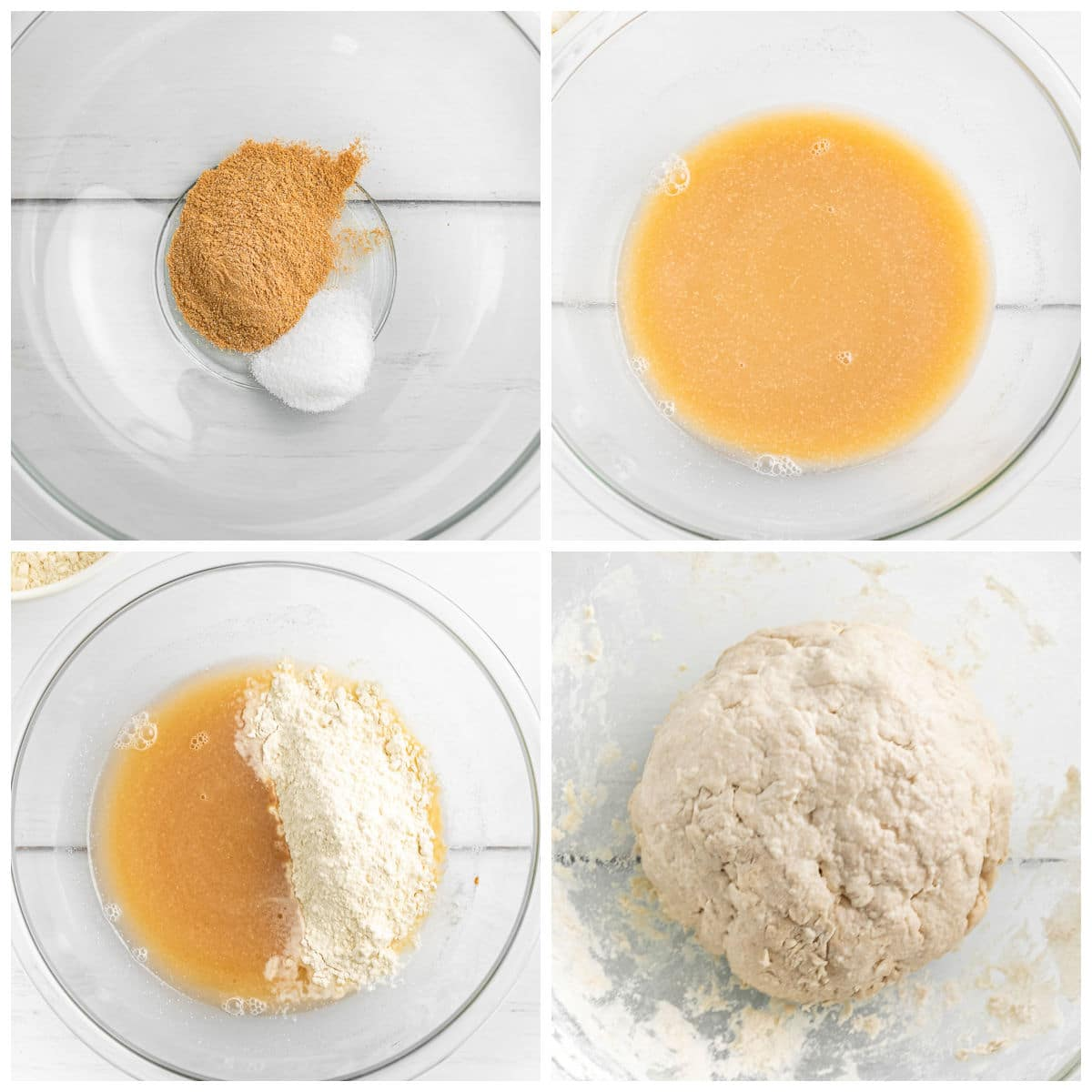 glass bowl with flour and yeast being mixed into bread dough