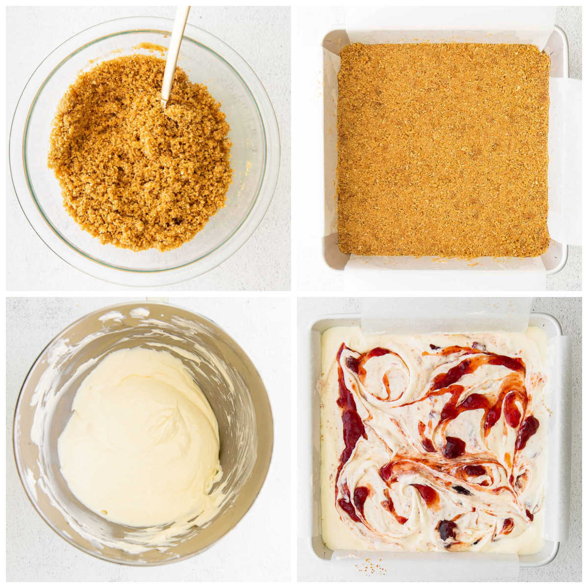 graham cracker crust mixed in a bowl and pressed into a square baking dish and cheesecake mixture being made and poured in