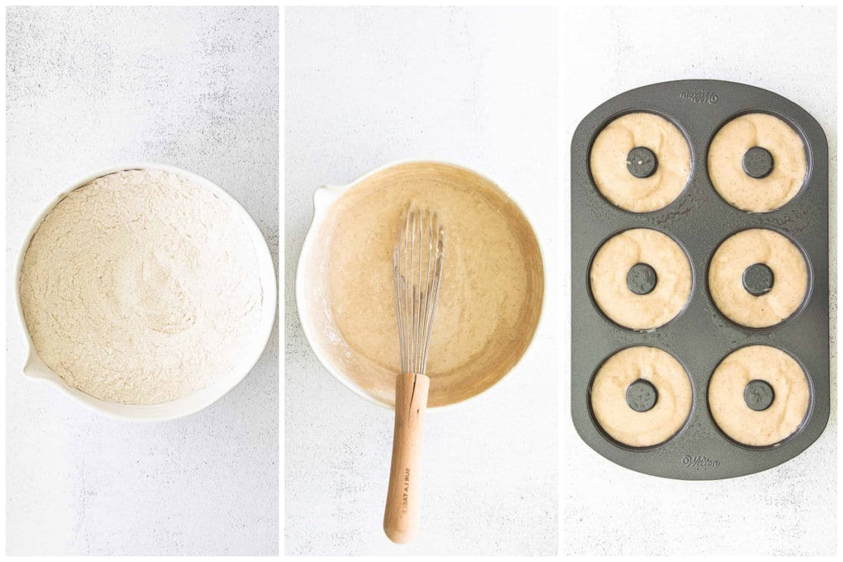 white bowl with flour, white bowl with donut batter and a 6 donut baking tin filled with batter