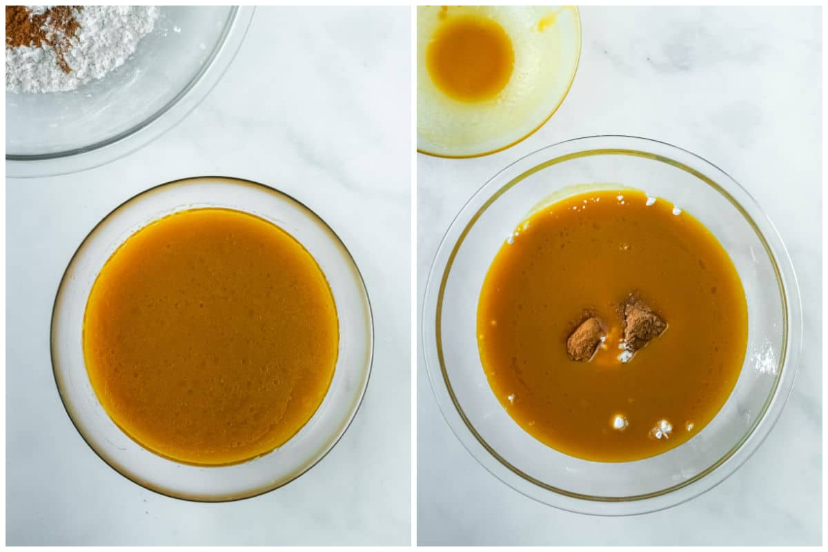 two glass bowls with pumpkin coffee cake batter being mixed together