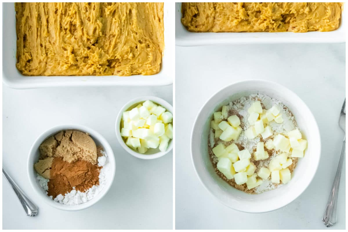 small white bowl with flour, brown sugar and spices and a bowl of cubed cold butter