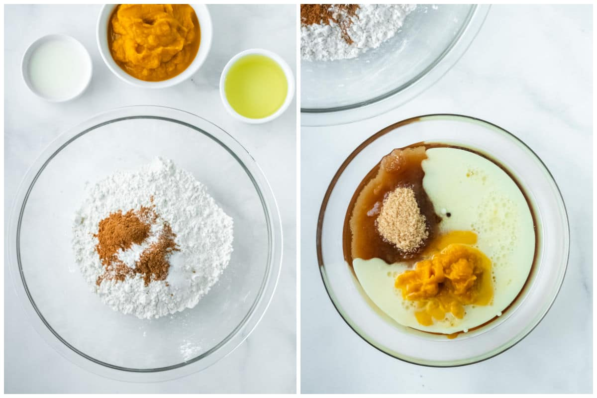 two glass mixing bowls. one with flour and spices and one with pumpkin puree, oil, milk and maple syrup